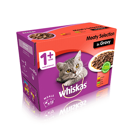 WHISKAS 1+ Meaty Selection in Gravy 12 x 100g (1.2kg)