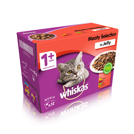 WHISKAS 1+ Meaty Selection in Jelly 12 x 100g (1.2kg)