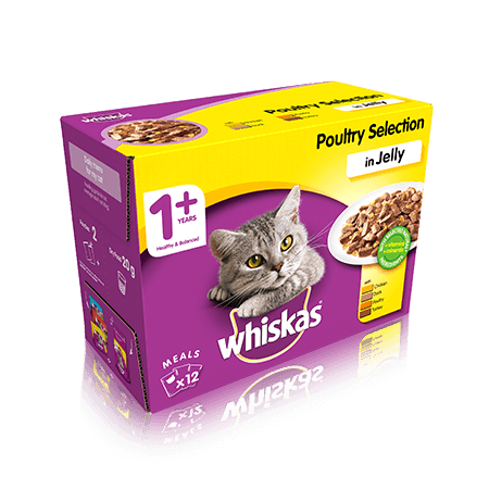 WHISKAS 1+ Poultry Selection in Jelly 12 x 100g (1.2kg)
