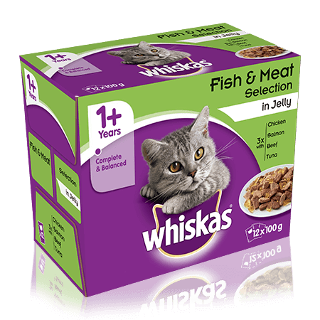 WHISKAS 1+ Year Cat Pouches Fish & Meaty Selection in Jelly 12 x 100g