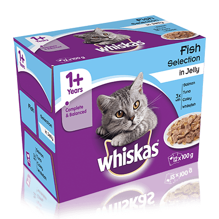 WHISKAS 1+ Years Cat Pouches Fish Selection in Jelly 12 x 100g