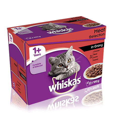 WHISKAS 1+ Years Cat Pouches Meaty Selection in Gravy 12 x 100g