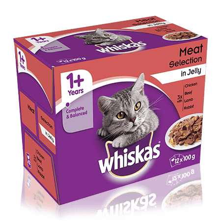 WHISKAS 1+ Years Cat Pouches Meaty Selection in Jelly 12 x 100g