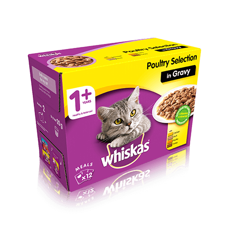 WHISKAS  1+ Years Cat Pouches Poultry Selection in Gravy 12 x 100g