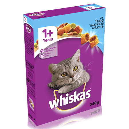 WHISKAS 1+ Years Complete Dry Cat Food with Tuna 340g