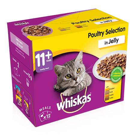 WHISKAS 11+ Cat Pouches Poultry Selection in Jelly 12x100g