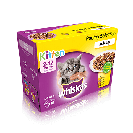 WHISKAS 2-12 Months Kitten  Poultry Selection in Jelly 12 x 100g (1.2kg)