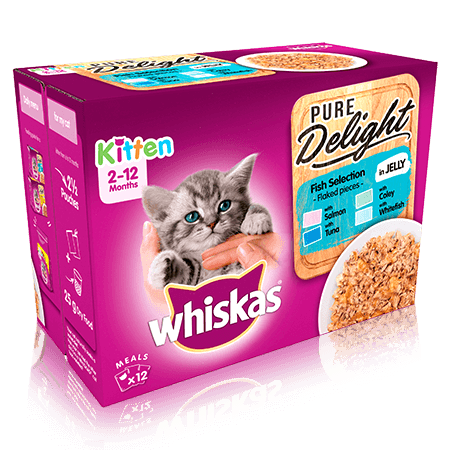 WHISKAS 2-12mths Kitten Pouches Pure Delight Fish Selection in Jelly 12x85g
