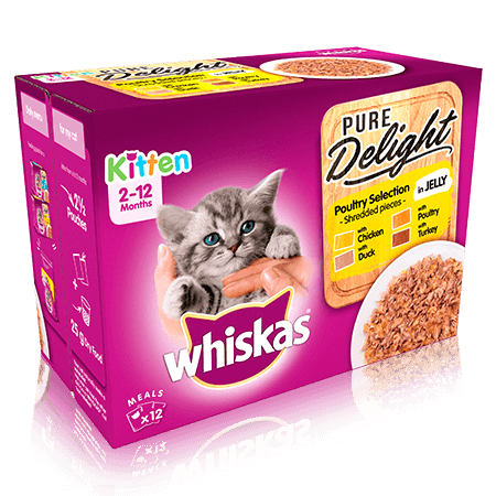 WHISKAS 2-12mths Kitten Pouches Pure Delight Poultry Selection in Jelly 12x85g