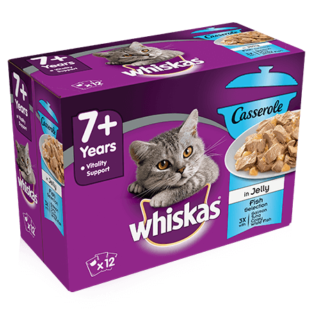 Whiskas 7+ Cat Pouches Casserole Fish Selection in Jelly 12x85g