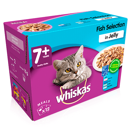 WHISKAS 7+ Fish Selection in Jelly 12 x 100g (1.2kg)