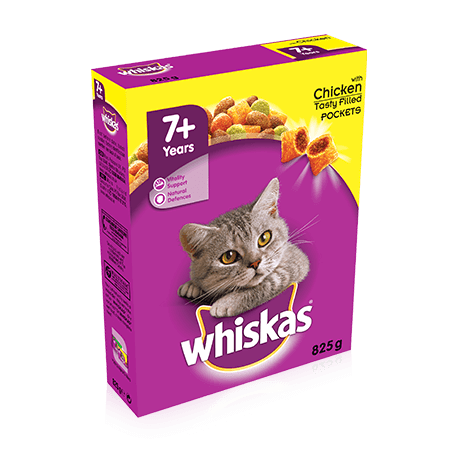 WHISKAS 7+ Years Cat Complete Dry with Chicken 825g