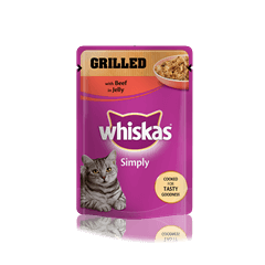 WHISKAS<sup>®</sup> Simply Pouch with Grilled Beef in Jelly 85g
