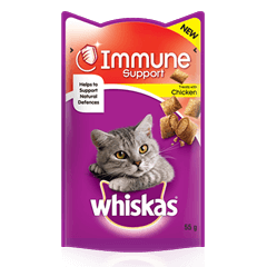 WHISKAS<sup>®</sup> Immune Support Cat Treats with Chicken 55g