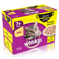WHISKAS<sup>®</sup> 7+ Creamy Soups Poultry Selection 12 x 85g