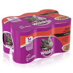 WHISKAS<sup>®</sup> 1+ Can Meaty Selection in Gravy 6 x 400g (2400g)