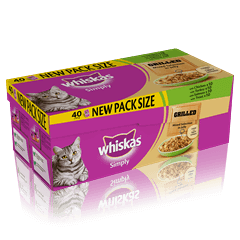 WHISKAS<sup>®</sup> Simply Pouch Grilled Mixed Selection in Jelly 40 x 85g