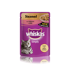 WHISKAS<sup>®</sup> Simply Pouch with Steamed Salmon in Jelly 85g
