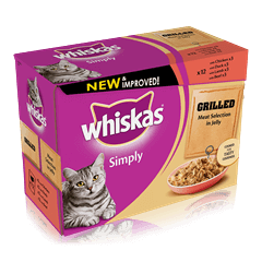 WHISKAS Simply Pouch Grilled Meaty Selection in Jelly 12 x 85g