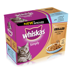WHISKAS<sup>®</sup> Simply Pouch Grilled Fish Selection in Jelly 12 x 85g