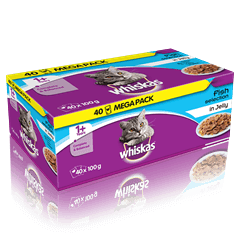 WHISKAS<sup>®</sup> 1+  Fish Selection in Jelly 40 x 100g (4kg)