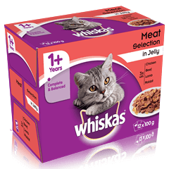 WHISKAS<sup>®</sup> 1+ Meaty Selection in Jelly 12 x 100g (1.2kg)
