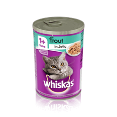 WHISKAS<sup>®</sup> 1+  Can with Trout in Jelly 390g