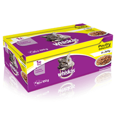 WHISKAS<sup>®</sup> 1+  Poultry Selection in Jelly 40 x 100g (4kg)