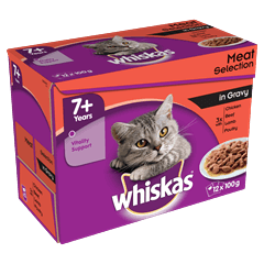 WHISKAS<sup>®</sup> 7+ Meat Selection in Gravy 12 x 100g (1.2kg)
