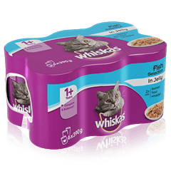 WHISKAS<sup>®</sup> 1+ Can Fish Selection in Jelly 6 x 390g (2340g)