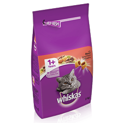 WHISKAS® 1+ Cat Complete Dry with Beef 2kg