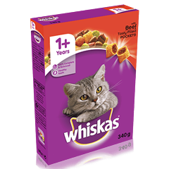 WHISKAS® 1+ Cat Complete Dry with Beef 340g