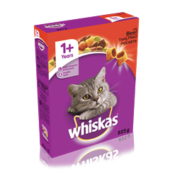 WHISKAS® 1+ Cat Complete Dry with Beef 825g