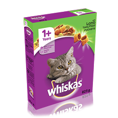 WHISKAS<sup>®</sup> 1+ Cat Complete Dry with Lamb 825g
