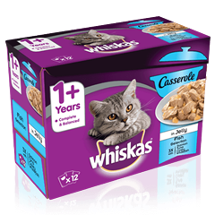 WHISKAS® 1+ Cat Pouches Casserole Fish Selection in Jelly 12 x 85g