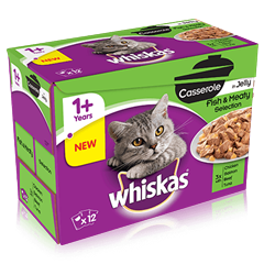 WHISKAS® 1+ Cat Pouches Casserole Fishy & Meaty Selection in Jelly 12 x 85g Pack