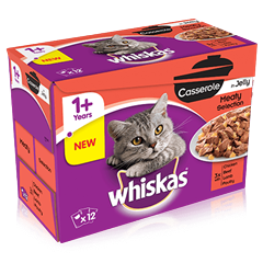 WHISKAS® 1+ Cat Pouches Casserole Meaty Selection in Jelly 12 x 85g