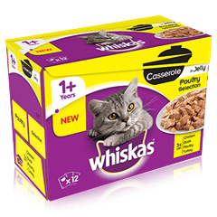 WHISKAS<sup>®</sup> 1+ Cat Pouches Casserole Poultry Selection in Jelly 12 x 85g