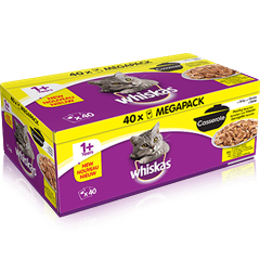 WHISKAS<sup>®</sup> 1+ Cat Pouches Casserole Poultry Selection in Jelly 40x85g