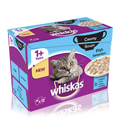 WHISKAS® 1+Years Creamy Soups Fish Selection 12 x 85g