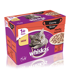 WHISKAS® 1+Years Creamy Soups Meaty Selection 12 x 85g