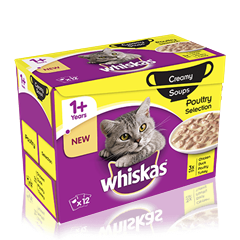 WHISKAS® 1+Years Creamy Soups Poultry Selection 12 x 85g