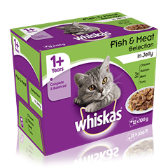 WHISKAS<sup>®</sup> 1+ Year Cat Pouches Fish & Meaty Selection in Jelly 12 x 100g