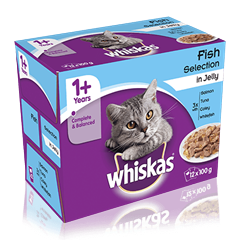 WHISKAS<sup>®</sup> 1+ Years Cat Pouches Fish Selection in Jelly 12 x 100g