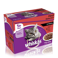 WHISKAS<sup>®</sup> 1+ Years Cat Pouches Meaty Selection in Gravy 12 x 100g