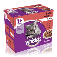 WHISKAS<sup>®</sup> 1+ Years Cat Pouches Meaty Selection in Jelly 12 x 100g