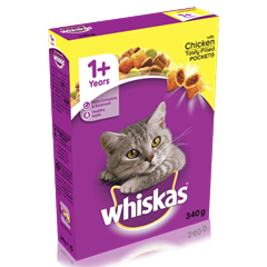 WHISKAS® 1+ Years Complete Dry Cat Food with Chicken 340g