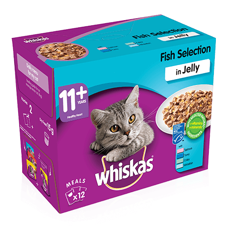 WHISKAS 11+ Cat Pouches Fish Selection in Jelly 12x100g