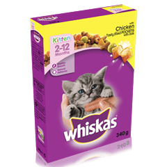 WHISKAS<sup>®</sup> 2-12 Months Kitten Complete Dry with Chicken 340g