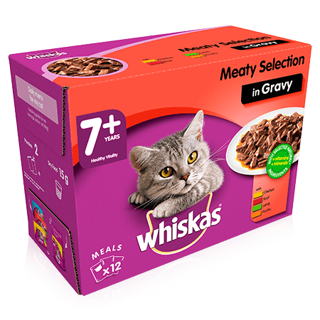 WHISKAS 7+ Meaty Selection in Gravy 12 x 100g (1.2kg)